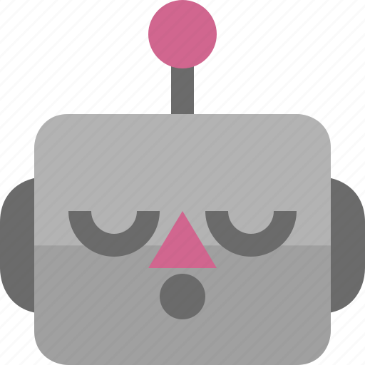 asleep, avatar, cute, emoji, emoticon, machine, robot icon