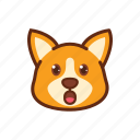 corgi, cute, dog, emoticon, expression, shock, surprised icon