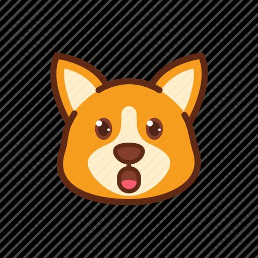 corgi, cute, dog, emoticon, expression, shock, surprised icon