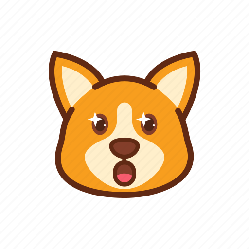 amazed, corgi, cute, dog, emoticon, expression, shocked icon