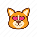 adorable, corgi, cute, dog, emoticon, expression, love icon