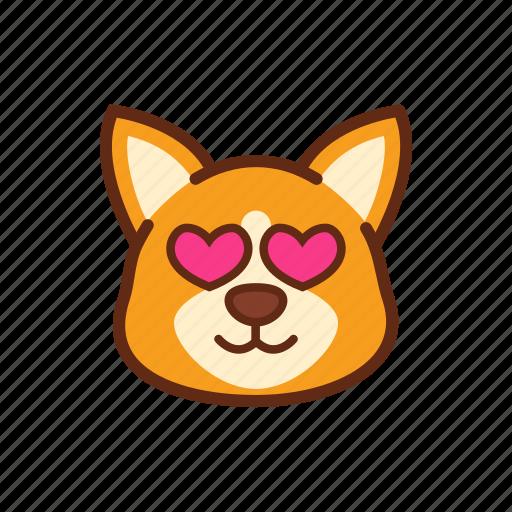 adorable, corgi, cute, dog, emoticon, expression, love icon