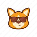 emoticon, cute, dog, corgi, cool, expression, glasses