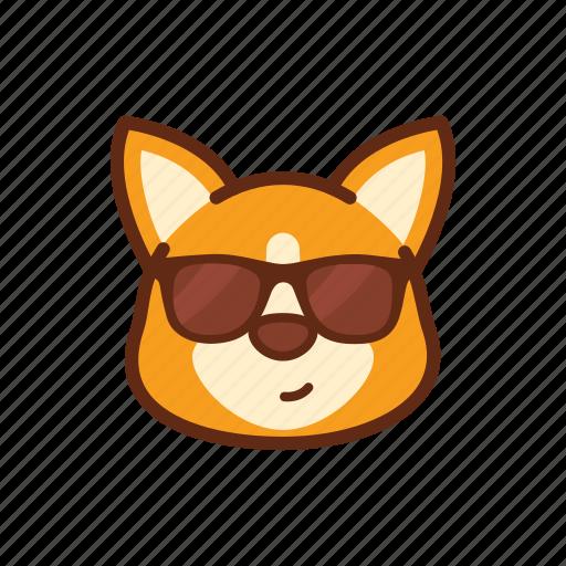 cool, corgi, cute, dog, emoticon, expression, glasses icon