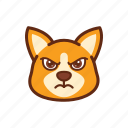 angry, corgi, cute, dog, emoticon, expression icon