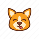 emoticon, cute, expression, dog, corgi, tongue, adorable