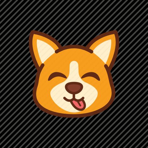 adorable, corgi, cute, dog, emoticon, expression, tongue icon