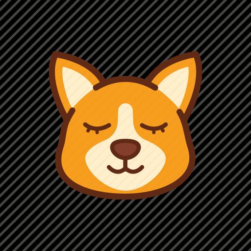corgi, cute, dog, emoticon, expression, sleep, sleepy icon