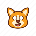 corgi, cute, dog, emoticon, expression, shocked icon