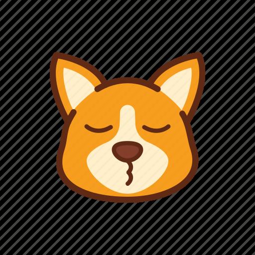 corgi, cute, dog, emoticon, expression, smile icon
