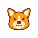 adorable, adore, corgi, cute, dog, emoticon, expression icon