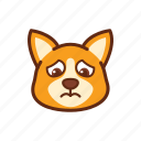 corgi, cry, cute, dog, emoticon, expression, sad icon