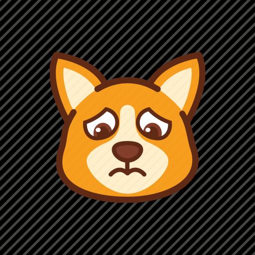 corgi, cry, cute, dog, emoticon, expression, sad icon