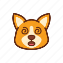confuse, corgi, cute, dog, emoticon, expression, pain icon