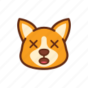 confuse, corgi, cross, cute, dog, emoticon, eye icon