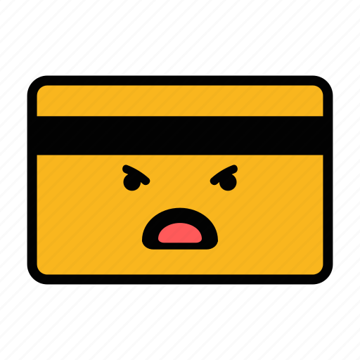 angry, card, credit, debit, emoji, pay, payment icon