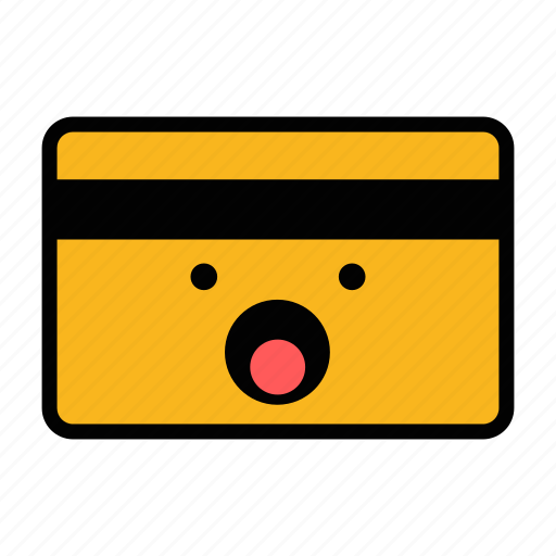 card, credit, debit, emoji, pay, payment, surprised icon