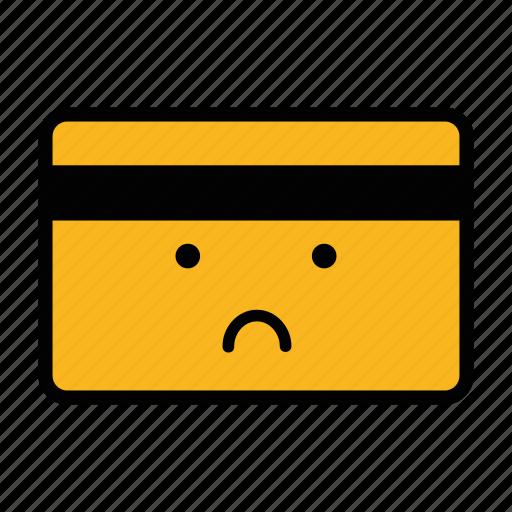 card, credit, debit, emoji, pay, payment, sad icon