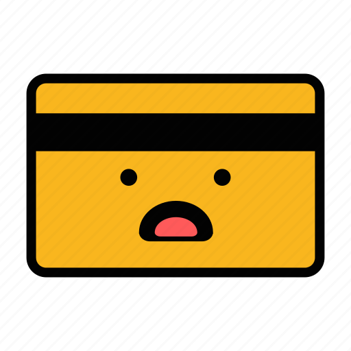 card, credit, debit, emoji, pay, payment, shocked icon
