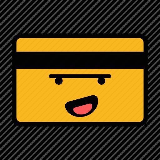 card, credit, debit, emoji, happy, pay, payment icon