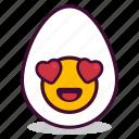 boiled, breakfast, egg, emoji, expression, heart, yolk icon