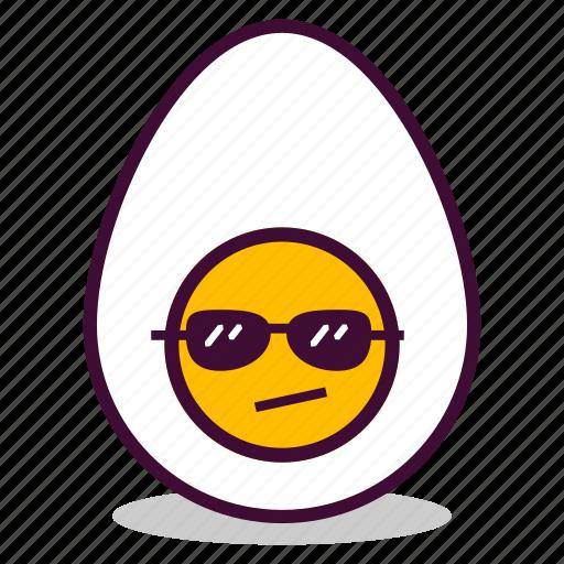 boiled, breakfast, cool, egg, emoji, expression, yolk icon