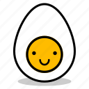 boiled, breakfast, egg, emoji, expression, smile, yolk icon