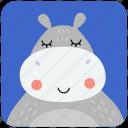 animal, cute, face, head, hippo, hippopotamus, portrait icon