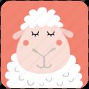 animal, cute, face, head, portrait, ram, sheep icon