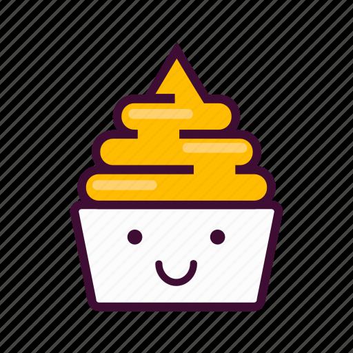 dessert, emoji, expression, frozen, ice cream, smile, yogurt icon