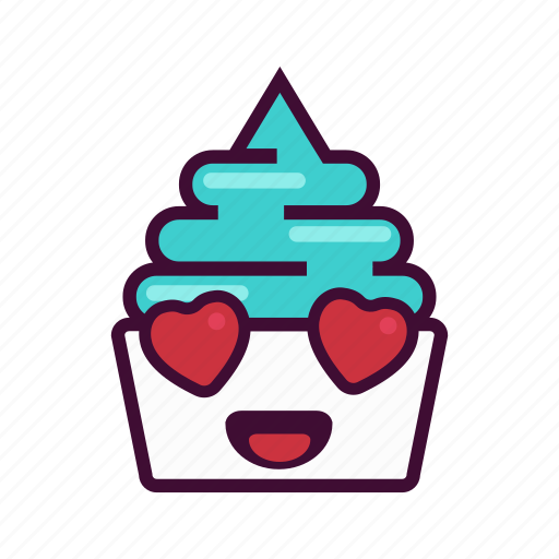 dessert, emoji, expression, frozen, ice cream, love, yogurt icon