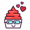 dessert, emoji, expression, frozen, ice cream, valentine, yogurt icon