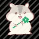animal, cute, flower, grey, hamster, smiley