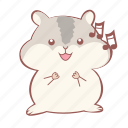 cute, animal, laugh, hamster, music, happy, sing