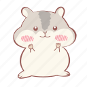 animal, cute, grey, hamster, happy, shy icon
