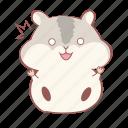 animal, grey, hamster, jump, shock, smiley, wonder