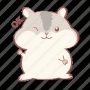 animal, cute, grey, hamster, mouse, okay, wink