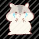 animal, cry, cute, emoticon, grey, hamster, sad
