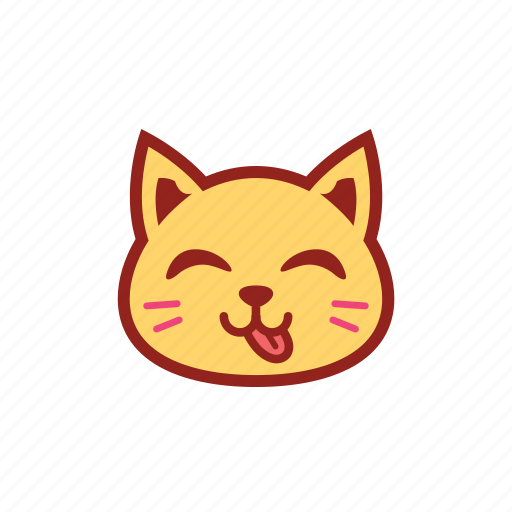 cute, emoticon, expression, kitty, smile, tongue icon