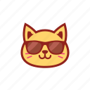 cool, cute, emoticon, expression, glasses, kitty icon