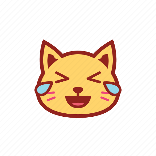 cute, emoticon, expression, kitty, laugh, tears icon