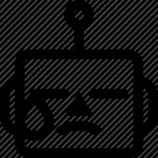avatar, cute, emoji, emoticon, machine, robot, tear icon