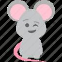 cute, emoji, mice, wink icon