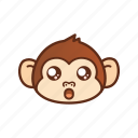 amazed, cute, emoticon, expression, funny, monkey, shocked icon