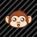 emoticon, cute, monkey, funny, shocked, expression, amazed