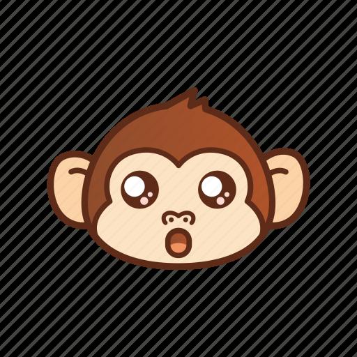 amazed, cute, emoticon, expression, funny, monkey, shocked icon