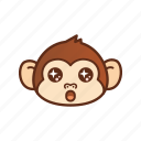 amazed, cute, emoticon, monkey, shocked, star, wow icon