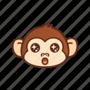 amazed, cute, emoticon, monkey, shocked, star, wow