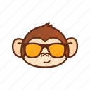 cool, cute, emoticon, expression, funny, glasses, monkey icon