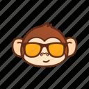 cool, cute, emoticon, expression, funny, glasses, monkey icon